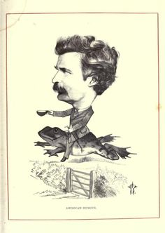 Mark Twain  -  The 1873 book Cartoon Portraits and Biographical Sketches of Men of the Day 49 illustrations of famous English people drawn by Frederick Waddy,