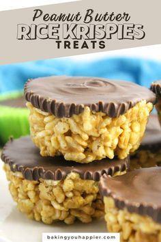 Peanut Butter Rice Krispies Treats, a dairy-free quick and easy to make no bake dessert! Everyone will love this not too sweet crispy treat!