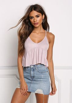 Mauve Ruffle Ribbed Knit Crop Top - New Junior Outfits, Cute Outfits, Skirt Outfits, Dress Skirt, Fashion Bra, Fashion Outfits, Skirt Fashion, Sofia Miacova, Summer Crop Tops