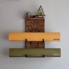 Double Yoga Mat Holder and Shelf with Lotus Flower Wood Burn Design - One of a Kind Wall Mounted Yoga Mat Rack