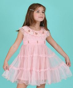 Sweet Bluette Pink Flower Lace Overlay Dress - Girls | zulily