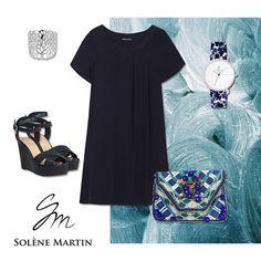 Look de la semaine / look of the week : Robe DORINE en viscose marine, bague MASTONE, compensées TILA MARCH, pochette ANTIK BATIK, montre LARUZE #mode #fashion #lookdelasemaine #look #style #lookoftheweek #trendy #brandclothing #paris #france #fashionblogger #blog #robe #dress #bleu #navy #marine #blue #perfectdress #accessories #accessoires #pochette #chaussures #bague #ring #jewelry #montre #watch