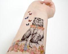 floral vintage hipster bear Hand Tattoos, Mother Tattoos, Body Art Tattoos, Small Tattoos, Cool Tattoos, Amazing Tattoos, Temporary Tattoos, Tatoos, Baby Bear Tattoo