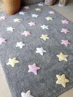 Teppich Washable Baumwolle Stars Tricolor grau-rosa 120x160 von Lorena...