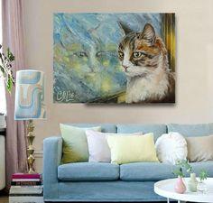 Cat painting print art gift for her Cat print painting Custom animal print Canvas print Giclee print Fine art print cat lover gift for wife by svetlanamatevosjan on Etsy