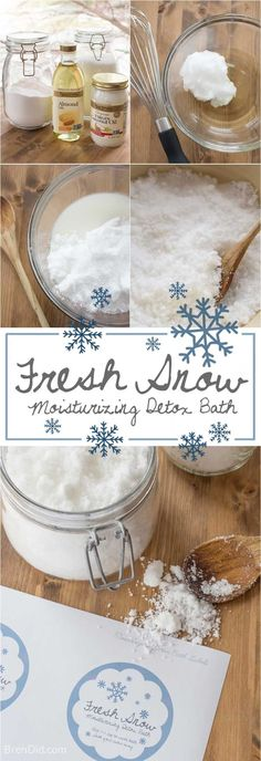 Fresh Snow: All-Natural Moisturizing Detox Bath - Detox bath Fondants Pour Le Bain, Homemade Beauty, Diy Beauty, Homemade Soaps, Semi Homemade, Beauty Care, Detox Bath Soak, Bath Salts Recipe, Diy Bathtub