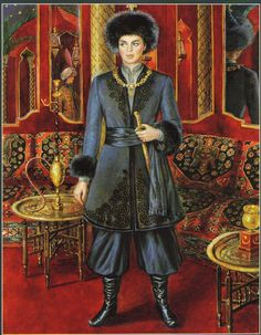 Baron Alexis de Rede at his Le Bal Oriental, 1969. Painting by Alexandre Serebriakoff.