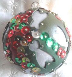 Magnifique boule de noël fait main cigales vert rouge argent cuir véritable 7 cm idée cadeau made in france