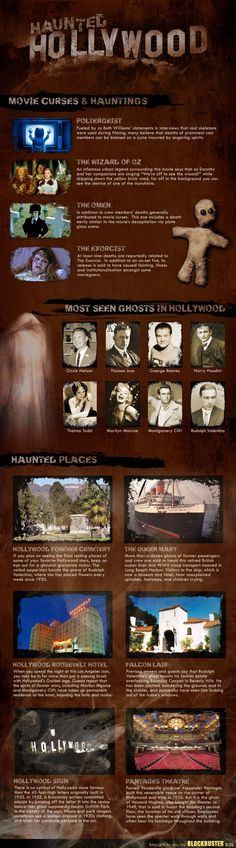 Haunted Hollywood (infographic) I lived there. I lived near the H side of the Hollywood sign. It's creepy. Also went to Hollywood Forever. Oh, you can feel the ghosts. Paranormal, Spooky Places, Haunted Places, Creepy Stories, Ghost Stories, Ghost Hauntings, Haunted History, Most Haunted, After Life