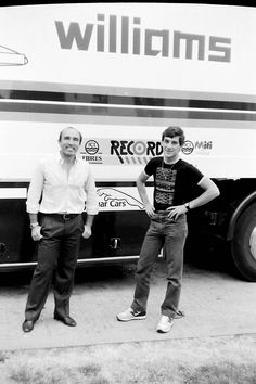 Frank Williams & Ayrton Senna - Donington, 1983, great oldie Pic of two heroes of the F1-Motorsport.