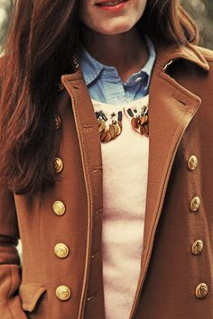 Brown coat, sweater with decorated collar