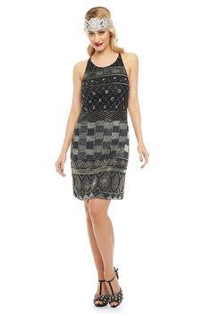 Eloise Vintage Inspired Halter Neck Dress in Black Silver