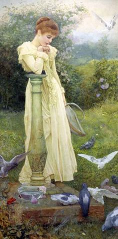 Feeding the Doves, Edward Killingworth Johnson #painting #art
