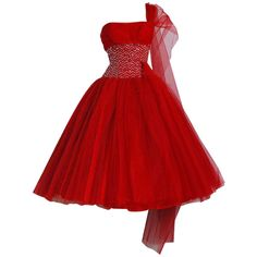 Mary Elizabeth - 1950's Ruby-Red Sequin Tulle Strapless Circle-Skirt... ❤ liked on Polyvore