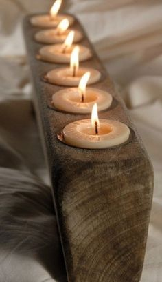 Spanish Oak Handmade 6 Candle Sugar Molds w/ Candles & Metal Inserts - modern - candles and candle holders - Save-on-crafts Modern Candles, Rustic Candles, Candle Lanterns, Rustic Wood, Citronella Candles, Romantic Candles, Scented Candles, Rustic Decor, Porta Velas