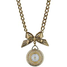 Bow And Clock Pendant ($30) ❤ liked on Polyvore featuring jewelry, necklaces, accessories, bow, clock, women, bow jewelry, bow chain necklace, chain pendants and pendant necklace