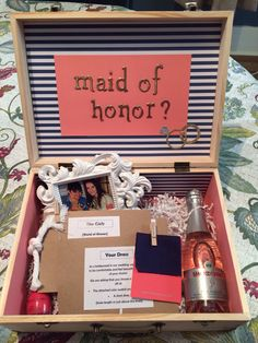 Nautical- coral, navy, white, and gold. Will you be my maid of honor?
