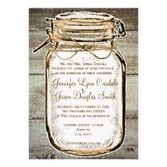 #SOLD Mason Jar Barn Wood Rustic Wedding Invitations on #Zazzle