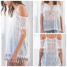 SALE! 🆕Lace Cold Shoulder Top This is one of the most popular trends right now! This is a sheet lace cold shoulder top with tassel design on sleeves as well as bottom hem. Of course, see-thru! Adjustable straps. Pair with a cute bralette & shirts & you are ready to go. 100% Rayon *Hand Wash Only*. April Spirit Tops Tees - Short Sleeve