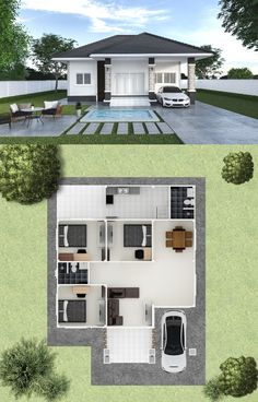 Three Simple but Charming Bungalow Designs with Three Bedrooms - Ulric Home Model House Plan, My House Plans, House Layout Plans, Simple House Plans, Simple House Design, Family House Plans, House Front Design, Minimalist House Design, House Layouts