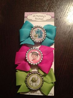 Monsters Inc Inspired Bow Set party favors hair by allisonmcnally, $9.00