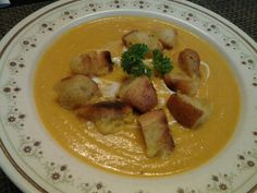 Pumpkin soup with crouton for this beautiful chilled Sunday