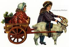 Vintage Victorian die cut paper scrap, Kids playing with a goat cart (l) c. 1880