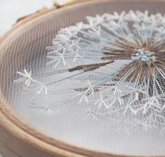 Machen Sie eine Wunsch Löwenzahn Tüll Stickrahmen Kunst