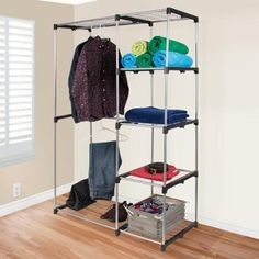 Closet Organizer Storage Rack Portable Clothes Hanger Home Garment Shelf Rod - Walmart.com