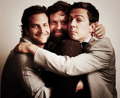 """""""The three best friends that anyone could have! The WOLF PACK!"""" Bradley Cooper, Zach Galifianakis, and Ed Helms. Ryan Gosling, Will Smith, Ed Helms, Zach Galifianakis, Three Best Friends, Celebrity Portraits, Hollywood, Drama, Music Tv"""