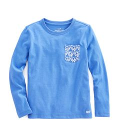 Girls Long-Sleeve Feather Scalloped Contrast Pocket Tee
