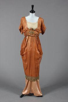 A Madame Ernest Ltd cinammon gauze silk and satin evening gown, c. 1910, Kerry Taylor Auctions