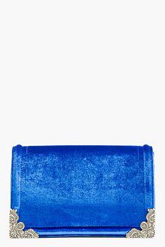 McQ Alexander McQueen Royal Blue Velvet Box Clutch for women   SSENSE