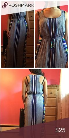 Blue Chevron Maxi Dress Beautiful chevron maxi dress with slits on each side. Only worn twice and in excellent condition. My height: 5ft 4inches. Dresses Maxi
