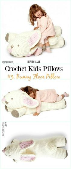 Crochet Bunny Floor Pillow Free Pattern -Fun #Crochet Kids #Pillows Free Patterns