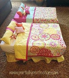 doll bed with storage container (make the mattress a bit smaller so it will store in the container): With all of the furniture, accessories and clothes, you can run out of room fast! Here's 22 brilliant American Girl doll storage ideas you can use now! American Girl Storage, American Girl Doll Bed, American Girl Crafts, American Girls, Girls Furniture, American Girl Furniture, Doll Furniture, Dollhouse Furniture, Dollhouse Ideas