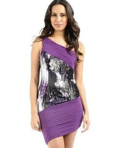 (CLICK IMAGE TWICE FOR DETAILS AND PRICING) Sequined One Shoulder Cocktail Dress Purple. Dance the night away in this asymmetrical sequined dress. Accessorize with a clutch and dangling earrings.. See More Party Dress at http://www.ourgreatshop.com/Party-Dress-C79.aspx