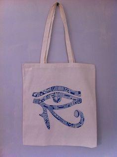 Eye of horus tote bag illustration