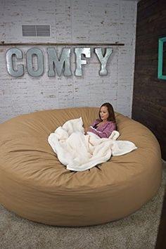 Bean Bag Bed 8 Foot Xtreem Oversized Bean Bag Chair In Twill, Tan Khaki