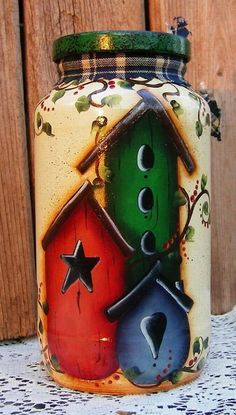 Hand Painted Birdhouse Storage Jar by PaintingByEileen on Etsy Mason Jar Crafts, Bottle Crafts, Mason Jars, Bottle Painting, Bottle Art, Painted Jars, Hand Painted, Bird Houses Painted, Painted Birdhouses