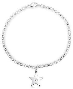 Bling Jewelry Patriotic Cz Modern Star Charm Sterling Silver Anklet 10in.