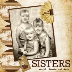 Sisters ~ Modern family photo reprinted as a b/w for a vintage look to add to your heritage album.