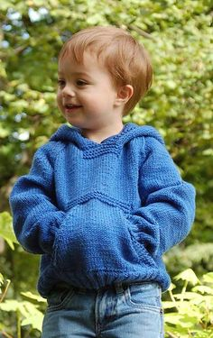 Free knitting pattern for Playtime Hoodie Sweater. Susie Bonell designed this child's hoodie sweater with front pockets for Cascade Yarns. Sizes: Chest: 26, 28, 30 inches