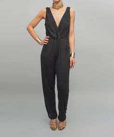 Look at this Black V-Neck Jumpsuit on #zulily today!