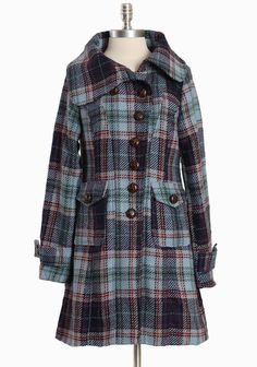 """Conrad Plaid Coat By Knitted Dove 158.99 at shopruche.com. We love this gorgeous heavyweight blue plaid coat with hints of red, green, and purple. Complete an asymmetrical button closure, two front pockets, and full lining. , ,  Shell: 95% Polyester, 5% Wool,  Lining: 100% Polyester,  Imported,  34"""" length from top of shoulder, 25"""" sleeve length from top of shoulder"""