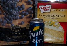"""Blueberry/Diet Soda/Lemon dump cake! Pour 3 cups of frozen blueberries in 9 X 13 """" pan. Then sprinkle dry Lemon cake mix over the berries. Slowly pour diet soda evenly over the top. Place in 375 oven and bake for 35-40 minutes. Sprinkle powered sugar over the top before serving."""