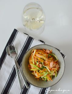 Quick and light spring recipe: Veggie pasta and courgetti in a creamy lemon sauce with salmon   via The Copenhagen Tales