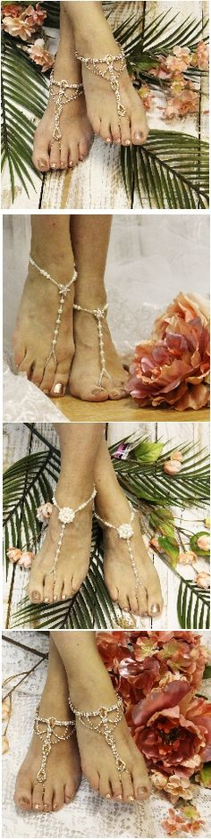 Rose gold barefoot sandals. Foot jewelry for beach weddings. By Catherine Cole Studio