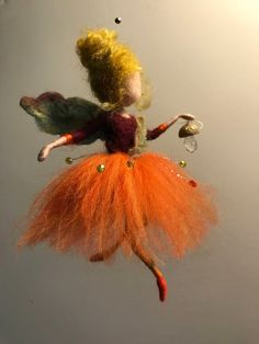 Needle felted fairy Waldorf inspired Wool doll Felted fairy Autumn Orange Home decor Art doll Doll miniature Gift Children room mobile home decor Wet Felting, Needle Felting, Wool Dolls, Felt Dolls, Needle Felted Animals, Felt Animals, Felt Fairy, Fairy Dolls, Felt Christmas