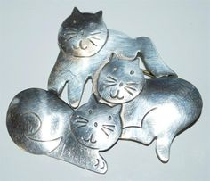 925 MEXICAN STERLING SILVER THREE CATS BROOCH PIN 12.5 GR BT5